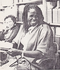A lucky moment, I caught Wangari's smile while photographing a meeting of women advisors at UNEP meeting in 1987.