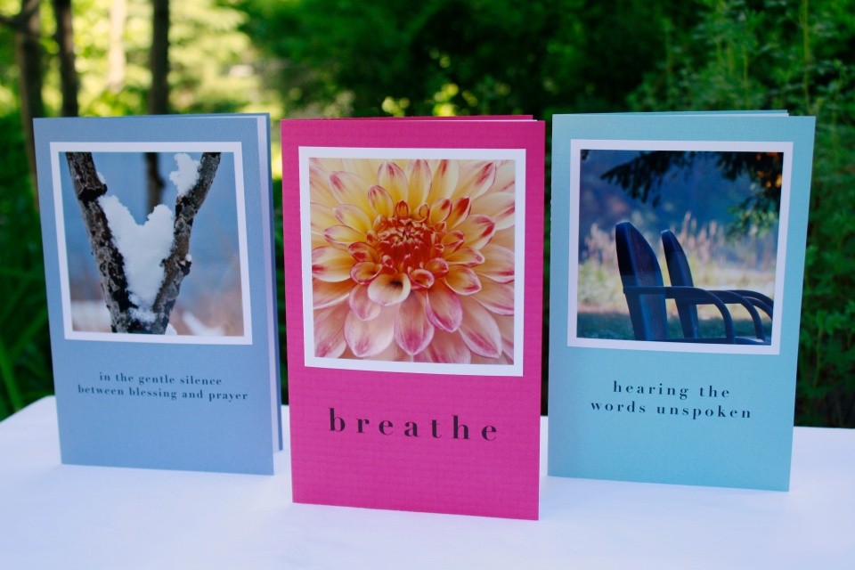 Greeting cards by Studio-Lu include 12-16 minutes of music and meditation around a central theme such as friendship, loss, transition, courage, love.