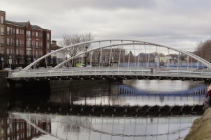 James Joyce Bridge, opened in 2003. River Liffey, Dublin.