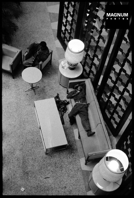"CUBA. La Havana. 1959. ""Fidelistas"" take over the Hilton Hotel and get their first rest after living in the field for months. ©BurtGlinn/Magnum"